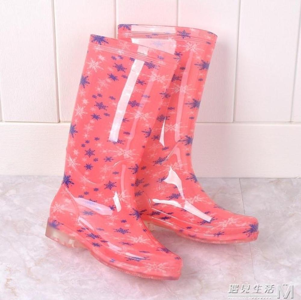 果凍雨鞋女高筒防滑耐磨成人雨靴加絨中高筒防水鞋女保暖學生雨鞋  遇見生活 母親節禮物