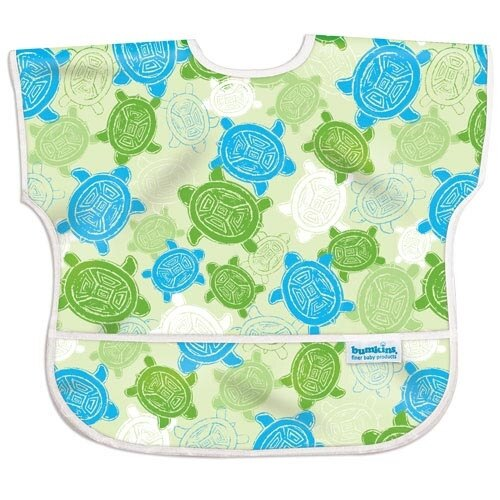 【美國Bumkins】兒童(1-3歲)短袖防水圍兜-小烏龜 BKU-913【紫貝殼】