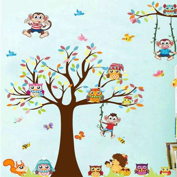BO雜貨【YV2878-1】創意可重覆貼壁貼 臥室 客廳 兒童房 幼兒園 卡通樹 猴子XL8192