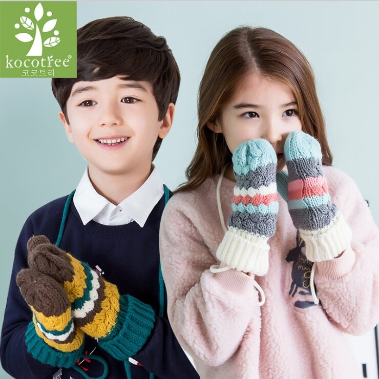 WallFree窩自在★秋冬時尚冰淇淋拚色保暖內裡抓絨粗針織兒童加絨手套