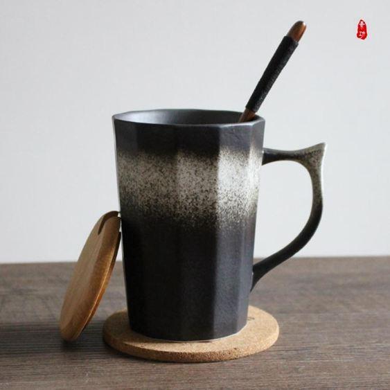定制高溫日式陶瓷杯創意復古帶把手馬克杯磨砂咖啡杯情侶杯茶杯定制杯