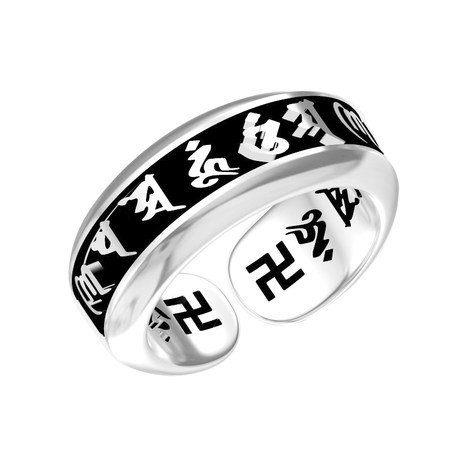 泰銀六字真言開口銀戒指環 辟邪大明咒轉運禮物