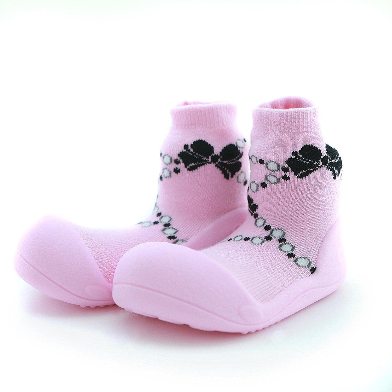韓國 Attipas 快樂腳襪型學步鞋-粉紅貴婦