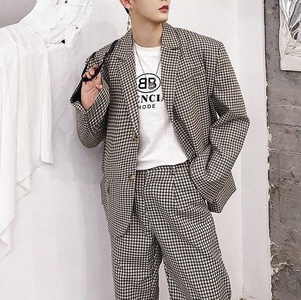 FINDSENSE H1秋季 新款 日本 個性 復古格子 時尚 寬鬆  墊肩長袖 西裝外套 潮男上衣外套