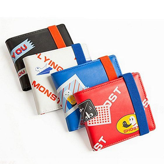 彈力繩兩折疊皮夾創意潮日韓國零錢位薄學生男女短款錢包