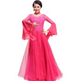 モダンダンスのドレスラウンドネック社交ダンスの競技のドレスラインストーンラージベルスリーブビッグスカート (Color : Rose red, Size : S)