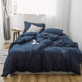 100%ニットコットン寝具4ピースセット、無地ソフト通気性ベッドカバー、ホームデコレーション用-cyan-Twin