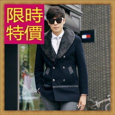 毛呢外套男大衣-羊毛保暖短版男風衣3色62n50【韓國進口】【米蘭精品】