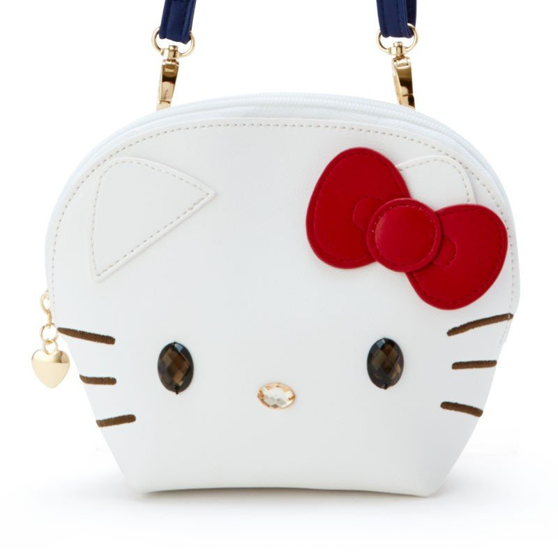 小禮堂 Hello Kitty 大臉造型半圓皮質拉鍊斜背包《白》收納包.手拿包.外出包