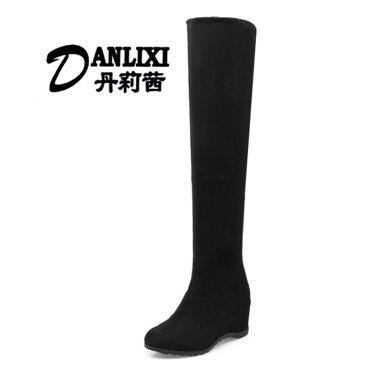 膝上靴 過膝靴2018新款內增高彈力冬鞋坡跟長款單靴子  聖誕節禮物