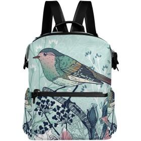 鳥 復古 花柄 きれい リュック 学生用 デイパック レディース 大容量 バックパック 男女兼用 機能性 大容量 防水性 デザイン 旅行 ブックバッグ ファション