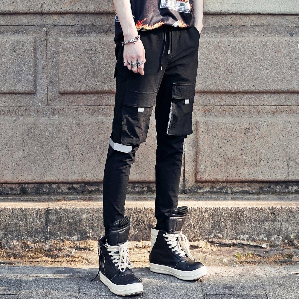 FINDSENSE H1夏季 日本 新款 個性黯黑 反光布拼接 多口袋  潮男 休閒長褲 時尚 百搭 休閒褲 潮男褲子