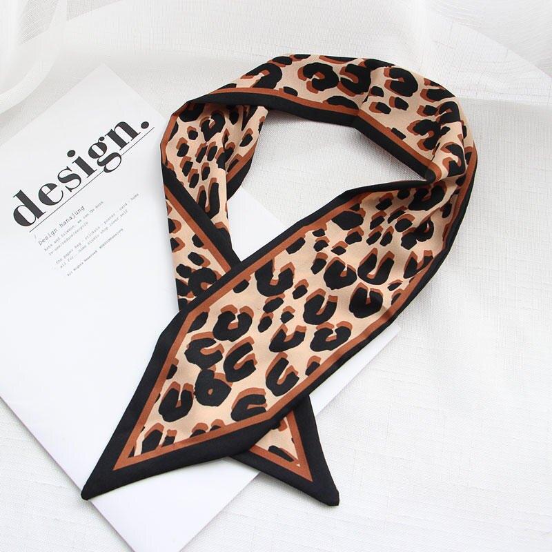 韓國東大門圍巾女chic早秋菱形裝飾小絲巾時髦豹紋發帶尖角頭巾1入