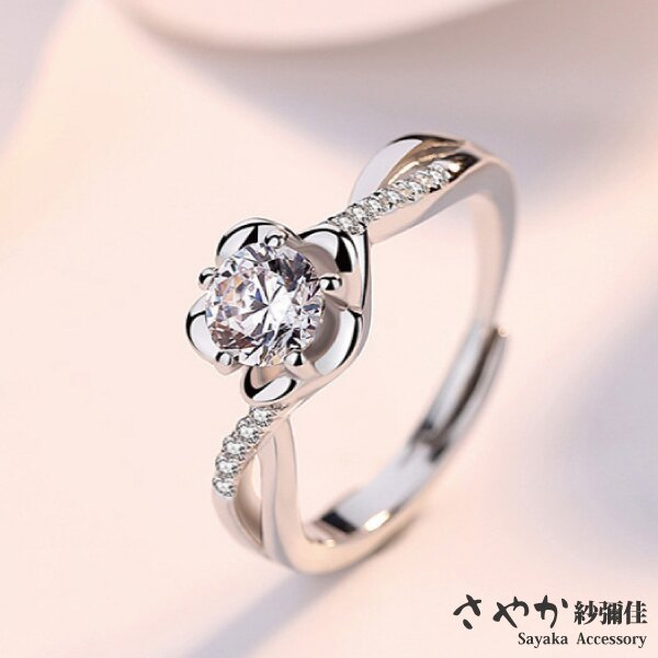 【Sayaka紗彌佳】花見天晴鑲鑽鍍銀戒指 / 可調式戒圍