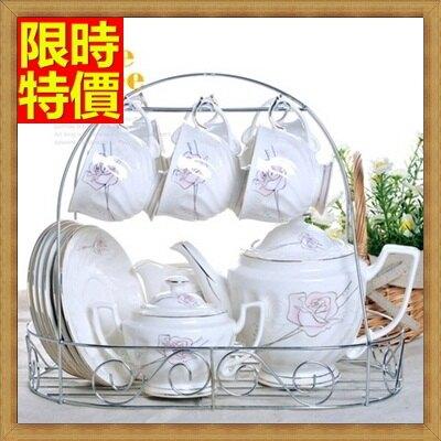 ★下午茶茶具含茶壺咖啡杯組合-6人情玫歐式高檔陶瓷茶具69g73【獨家進口】【米蘭精品】