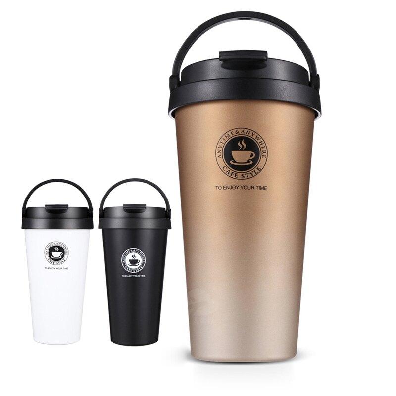 【台灣現貨】便攜式304提手咖啡杯 不銹鋼咖啡杯 真空咖啡保溫杯 戶外便攜 多色【HC007】99750走走去旅行