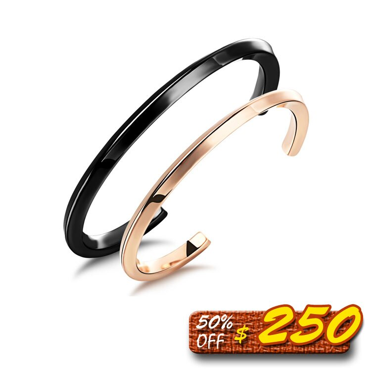 【5折超值價】 最新款精緻簡約線條款半開口造型情侶手環