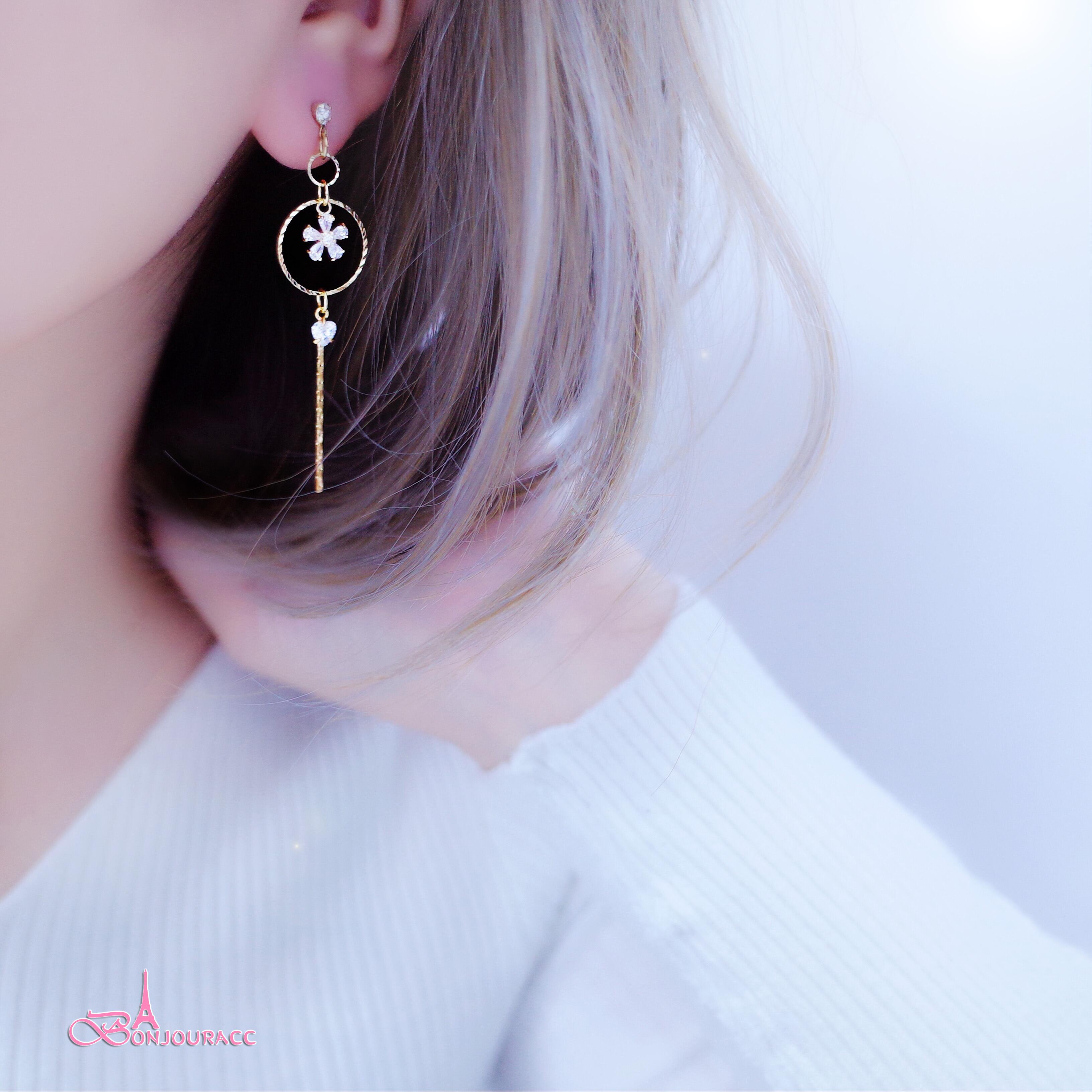 韓國搖曳螺紋小圈花樣 耳環  夾式 針式【Bonjouracc】