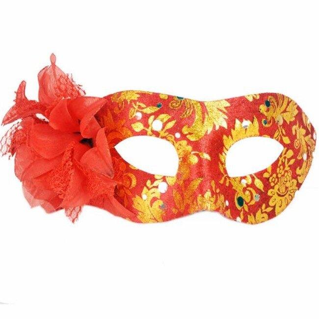 平頭圍邊包布 側花面具 面具 面罩 威尼斯 花紋包布面具 眼罩 cosplay 表演 舞會【塔克】