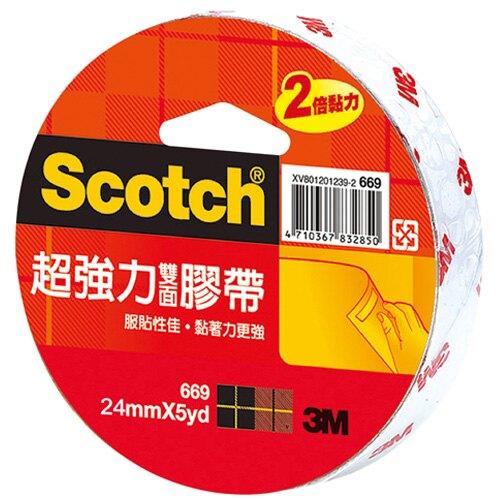 3M Scotch 超強力雙面膠帶 24mmX5yd 單入