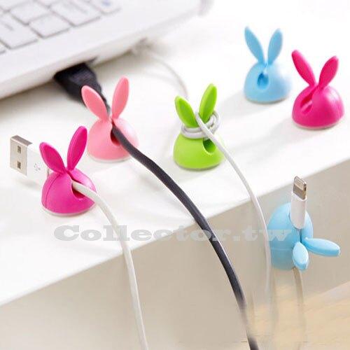 【超取399免運】兔耳朵固線器 矽膠繞線器 桌面粘膠電線固定器夾線器 4枚裝