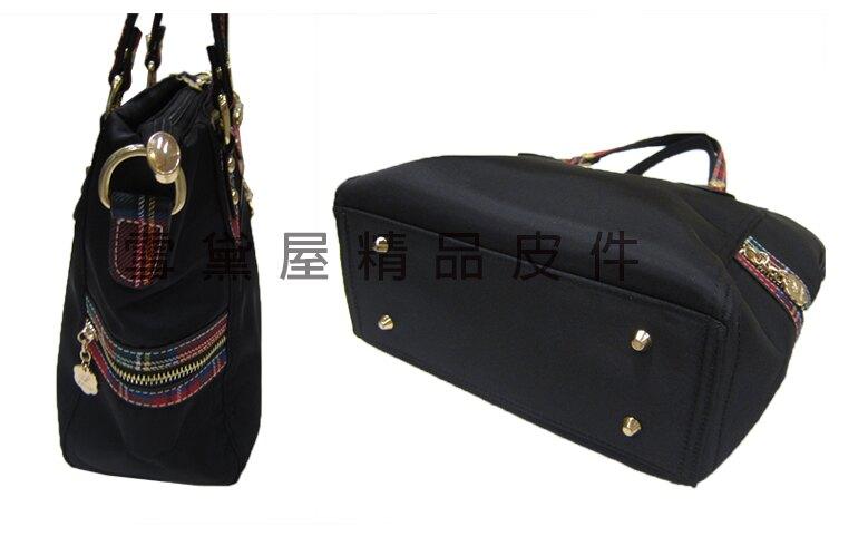 ~雪黛屋~Crown-Bear 托特包中容量手提肩背斜背拉鍊式主袋內二隔層袋口進口防水尼龍布多袋口附活動長背帶C8049