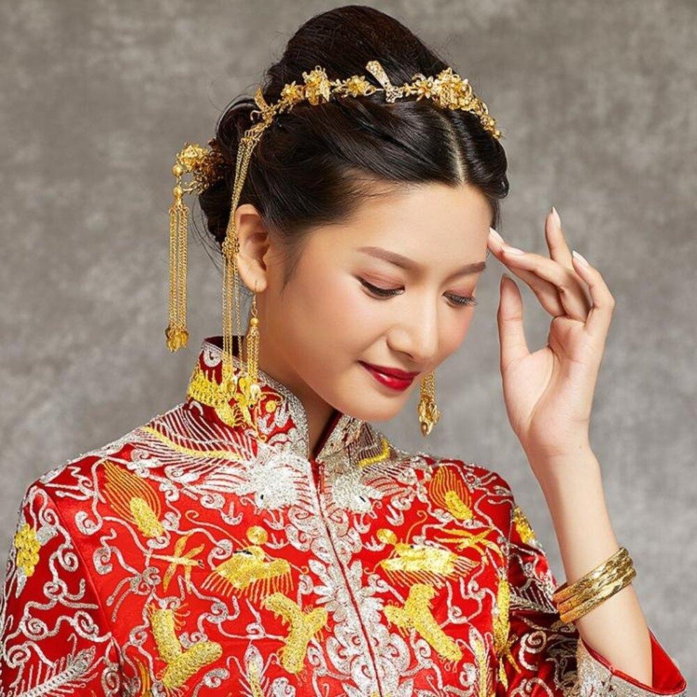 鳳冠  新娘頭飾中式鳳冠結婚古發飾套秀禾和服龍鳳褂配飾品   瑪麗蘇