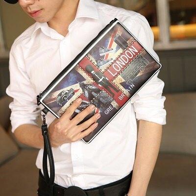 ☆手拿包鉚釘信封包-歐美時尚米字旗印花男包包73sd32【獨家進口】【米蘭精品】