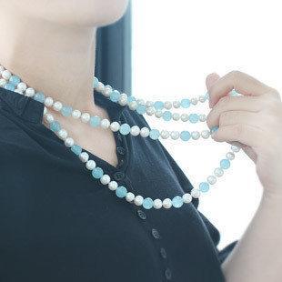 珍珠藍玉項鏈毛衣鏈 長款珍珠項鏈毛衣鏈 多層珍珠項鏈毛衣鏈