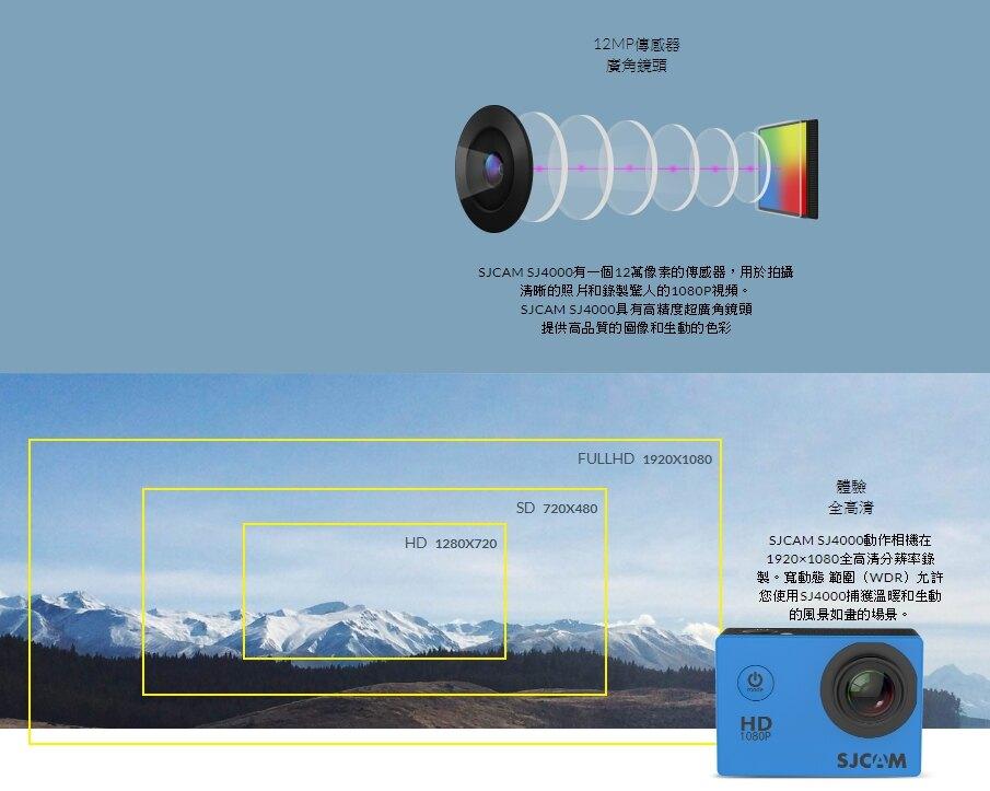SJCAM SJ4000 一般版 【送16G】2吋螢幕 1080P 運動防水攝影機 行車紀錄器 密錄器 保證原廠正版 可更新韌體