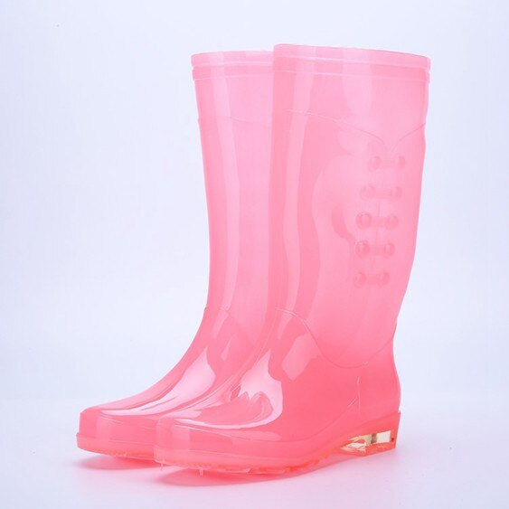 雨靴成人雨鞋女透明糖果時尚防水膠鞋女雨靴高筒防滑防水時尚水鞋水靴  萬事屋  聖誕節禮物