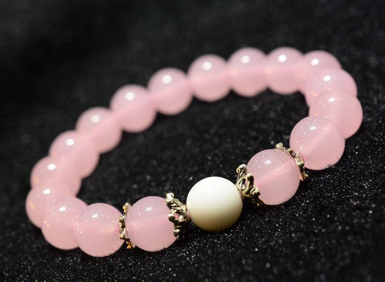 開光天然粉水晶 粉晶粉藍綠玉髓手鏈飾品女款 旺桃花 旺姻緣