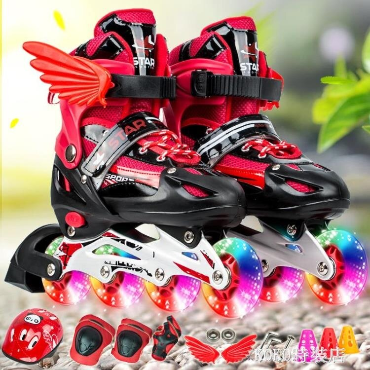 3-4-6-7-8-9-10歲男童女童旱冰鞋可調直排溜冰鞋兒童滑冰鞋輪滑鞋