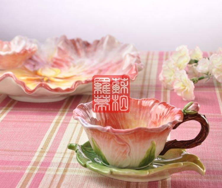 家居禮品 繁花似錦 陶瓷咖啡杯 茶杯 杯盤套裝