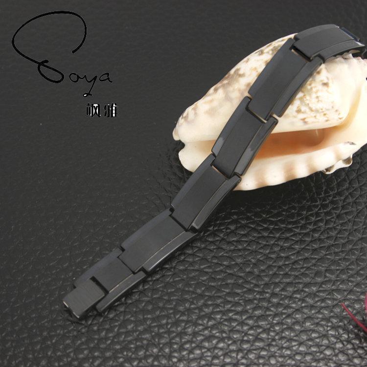 新品 鎢金手鏈 黑色寬版誇張風男性飾品 鑲嵌磁石 刻字