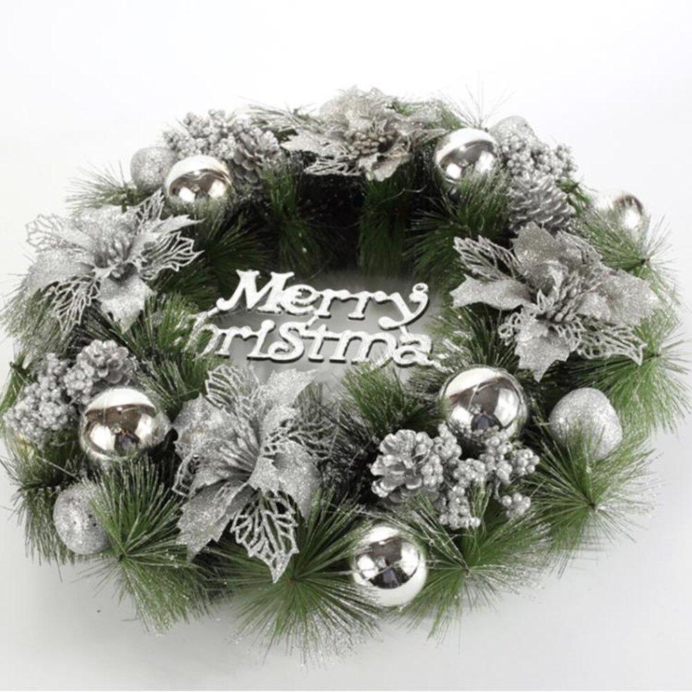 聖誕裝飾花環聖誕花環門掛櫥窗布置用品聖誕節裝飾品創意聖誕禮物 清涼一夏特價