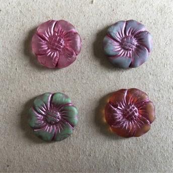 【4コセット】czech beads #チェコビーズ JIRI*IVANA flower プレスビーズ アソート ハニーイエロー*モス*クリスタルピンク*グレイッシュブルー/ピンクインレイ アソートC