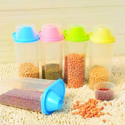 【3個裝雜糧密封罐-2.5L-15*10*27cm-3個/套-1套/組】廚房五穀收納罐儲物罐-7201001