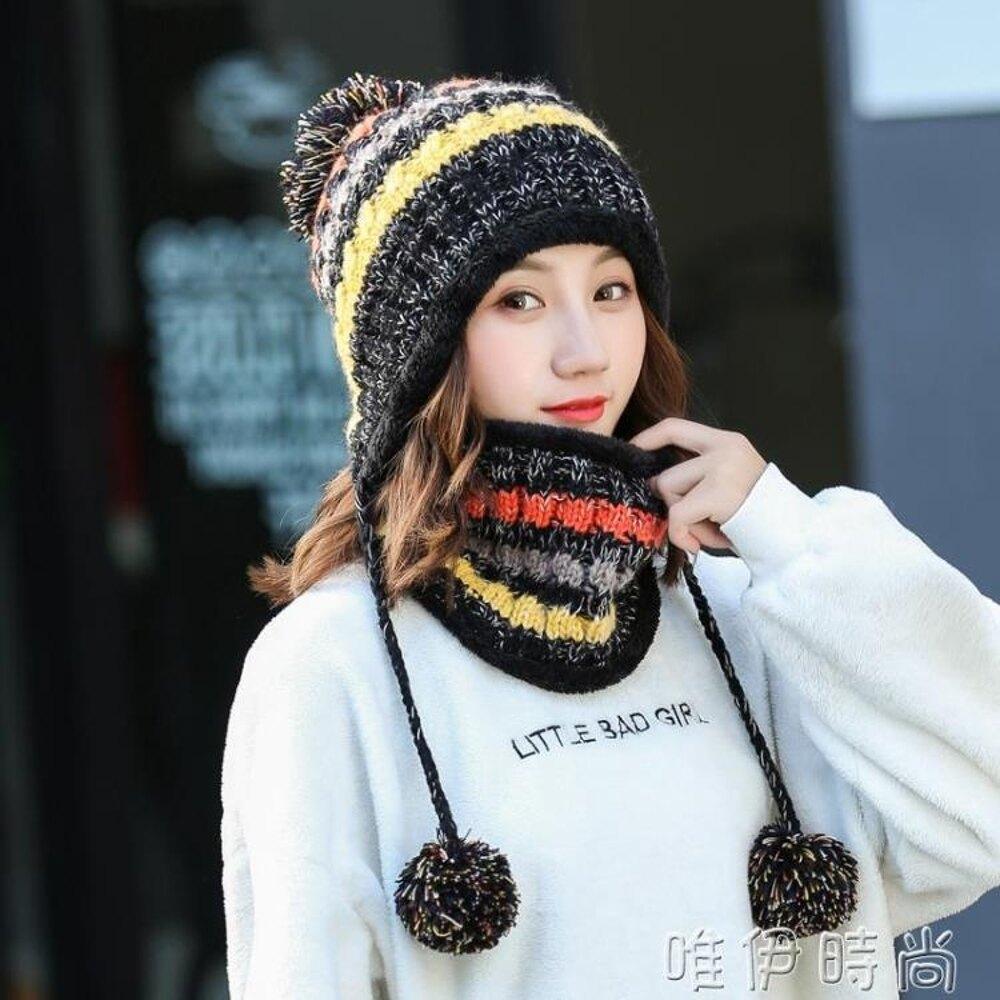 新年交換禮物 新款帽子女冬季韓版潮百搭加絨厚秋冬天套頭帽針織護耳毛線帽 唯伊時尚