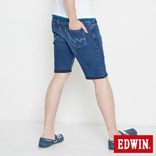 EDWIN JERSEYS 迦績 快乾合身 牛仔短褲-男款 石洗綠 SHORTS