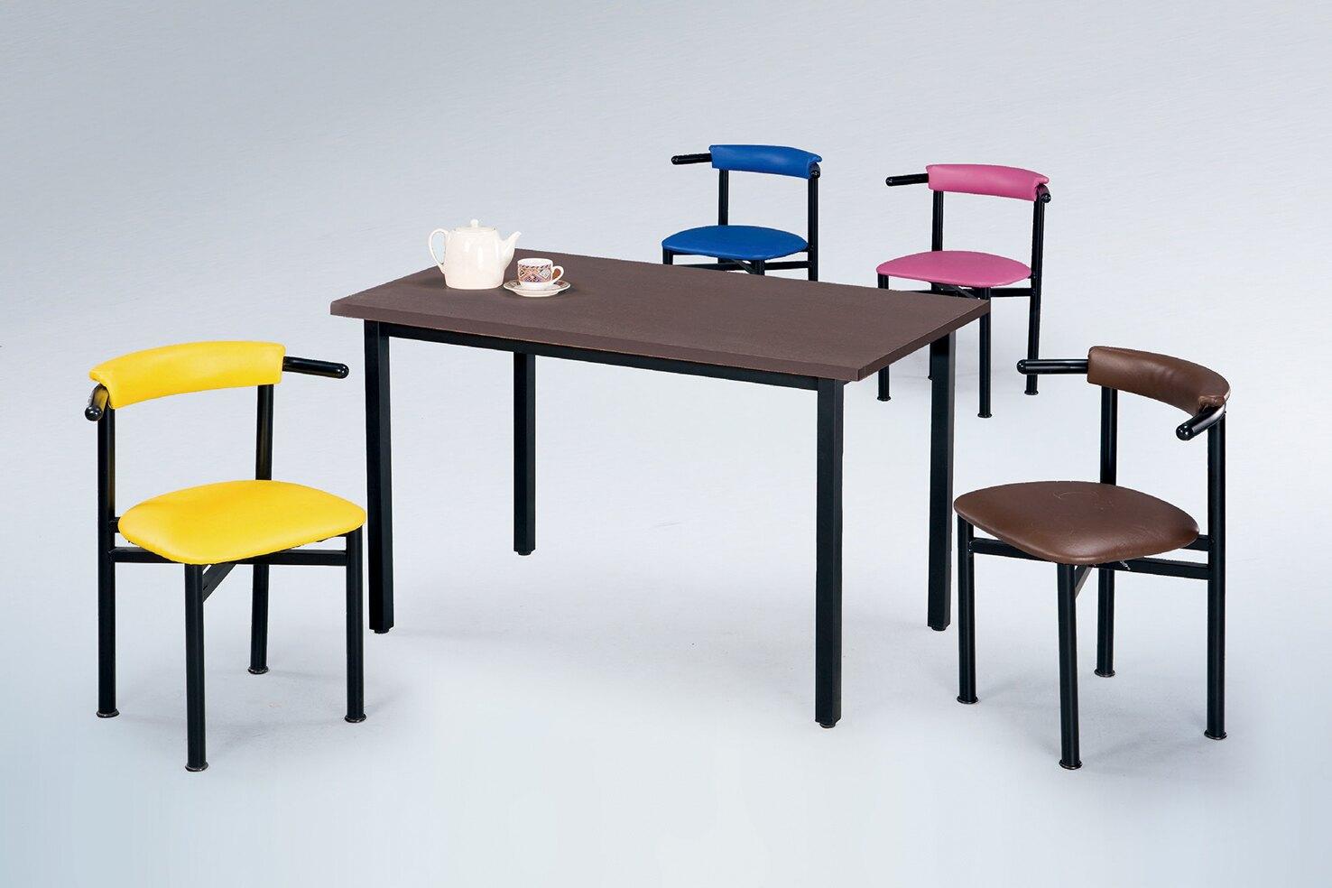 【 IS空間美學 】道奇4X2.5尺鐵刀木色餐桌+貝勒餐椅(1桌4椅)