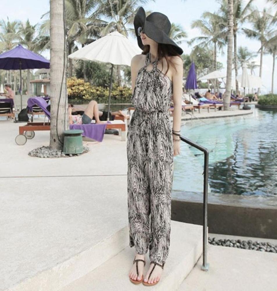 波西米亞海邊度假海沙灘連身褲長褲棉綢大碼連身褲裙女 錢夫人小鋪