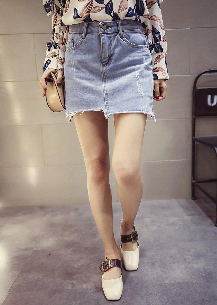 FINDSENSE MD 韓國時尚 女 潮 休閒 百搭 高腰 不規則下擺 磨邊 牛仔短裙 A字裙