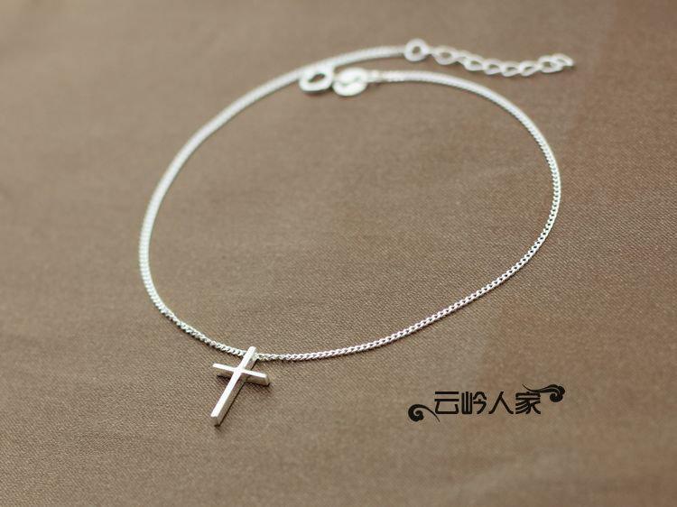 銀飾 女款飾品 簡約大方 百搭時尚 銀腳鏈 十字架