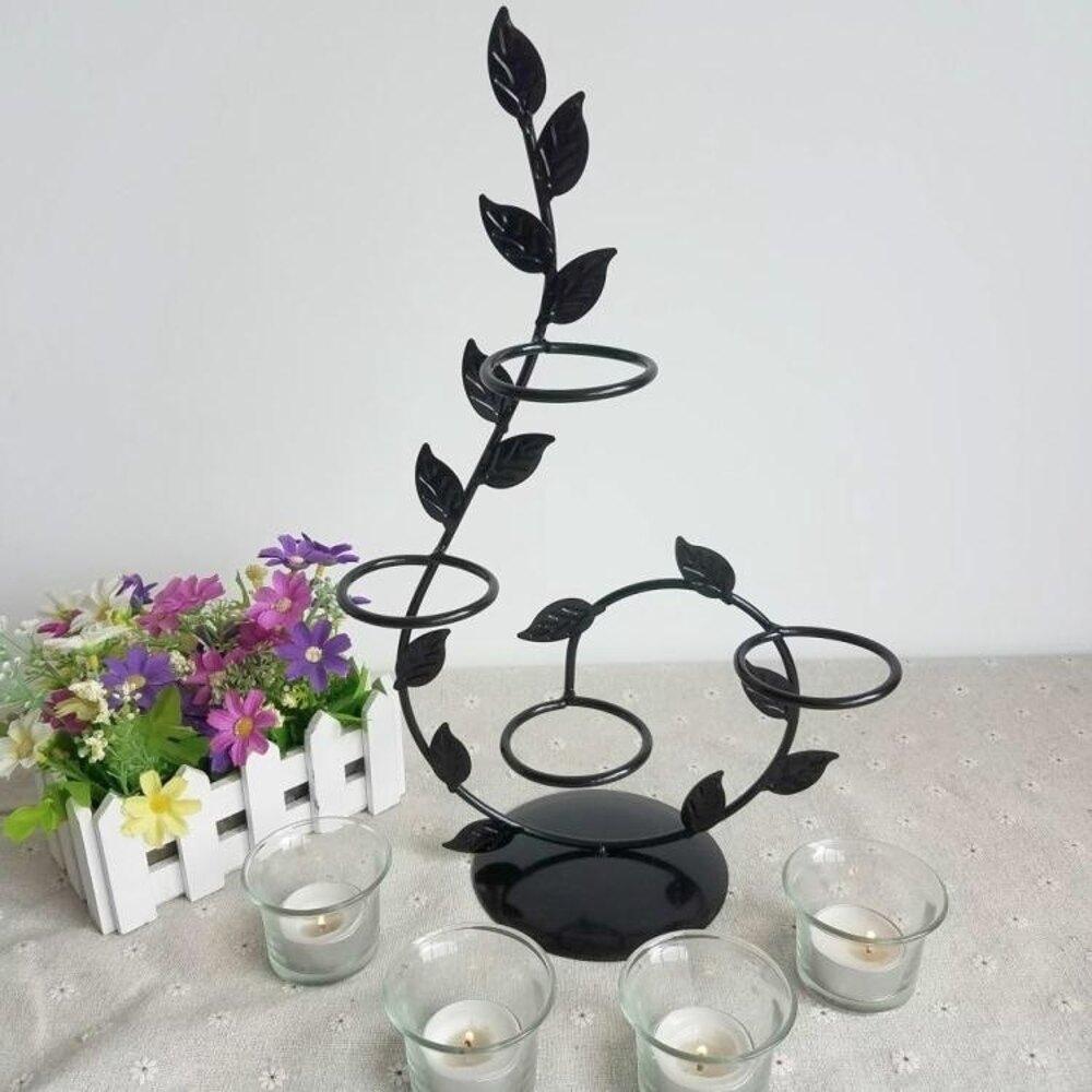 燭台 歐式鐵藝蠟燭台情人節浪漫創意家居燭光晚餐婚慶燭台裝擺件飾品 JD 非凡小鋪