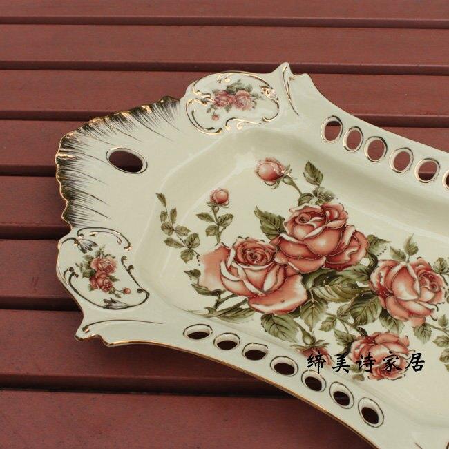 歐式水果盤 象牙瓷陶瓷 描金鏤空 雙尖糖果點心盤 新房裝飾