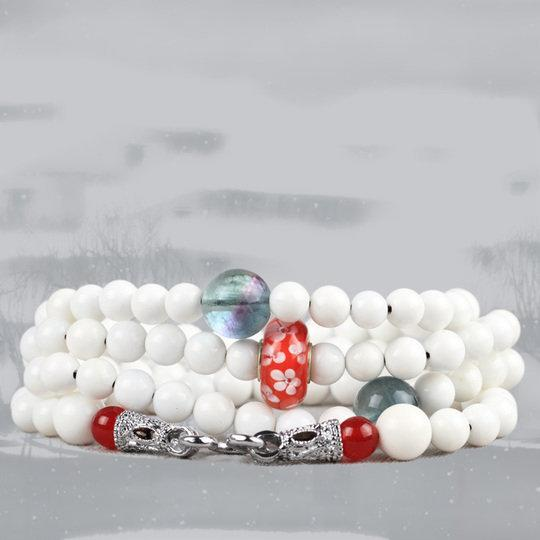 慕容雪 硨磲水晶複古時尚長款毛衣鏈項鏈女飾品