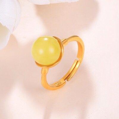 925純銀戒指琥珀銀飾-時尚簡約氣質百搭生日情人節禮物女飾品73ga28【獨家進口】【米蘭精品】