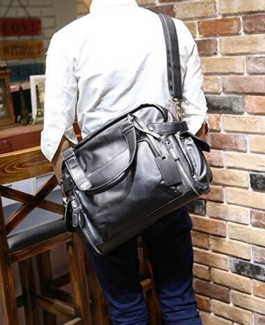 FINDSENSE Z1 韓國 時尚 潮 男 PU軟皮 休閒 橫款 多功能 手提包 單肩包 側背包 電腦公文包 旅行包