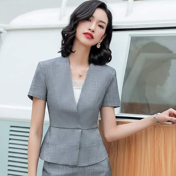 V領顯腰遮肚上班短袖西裝外套 [9S127-PF]灰姑娘